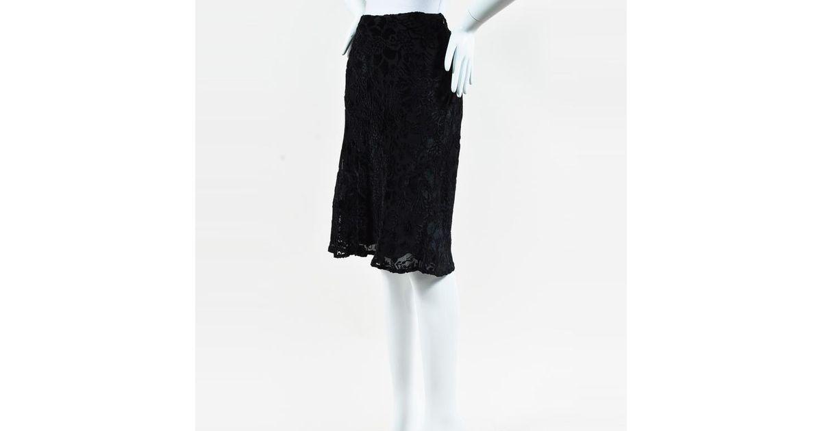 36bf0210 Burberry - Black Silk Velvet Floral Brocade Flounce Hem Skirt - Lyst