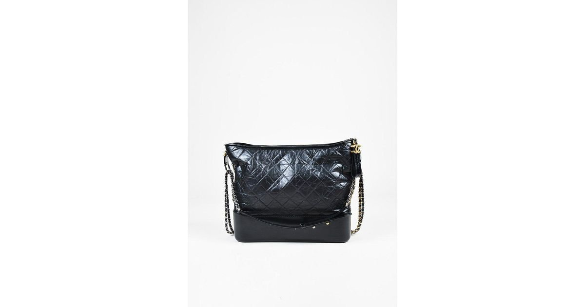 fcde7a75ce49 Chanel Black Quilted Aged Calfskin Leather