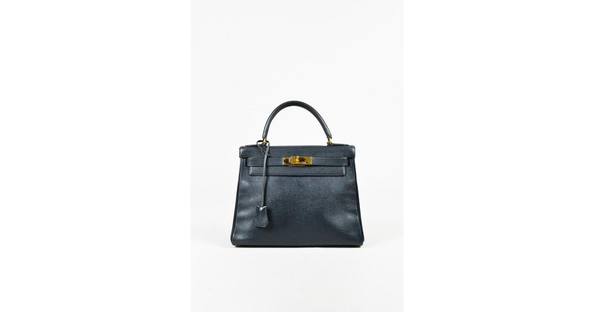 c76a82acef ... coupon code for hermès vintage navy courchevel leather kelly retourne  28 bag in blue lyst 0fccf