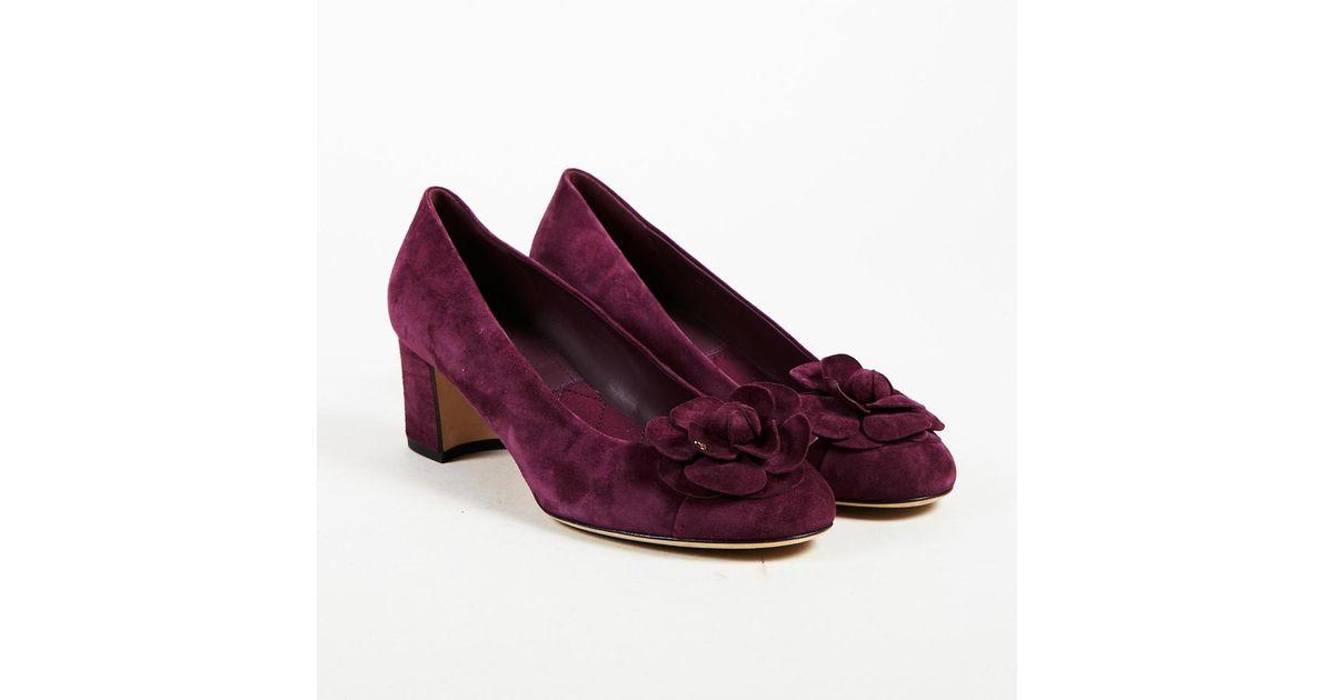 be8b9d9ba43 Lyst - Chanel Nwt Purple Suede Camellia Flower Block Heel Pumps in Purple