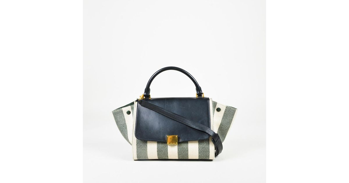 Lyst - Céline S s 2015 Cream Green   Blue Canvas   Leather Striped Small