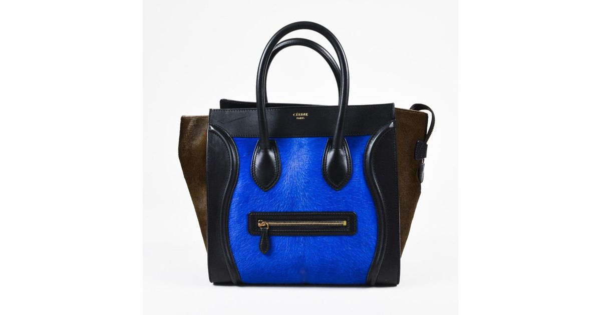be892d13e4 Céline Special Edition Black Leather Blue Brown Calf Hair Mini Luggage Tote  Bag in Blue - Save 13.339700732250876% - Lyst