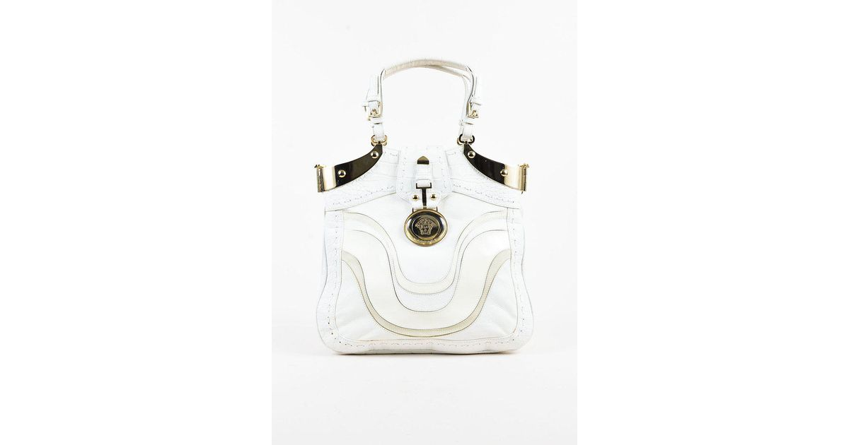 012a3e522c5b Lyst - Versace White Leather   Patent Embossed Gold Tone Shoulder Bag in  White