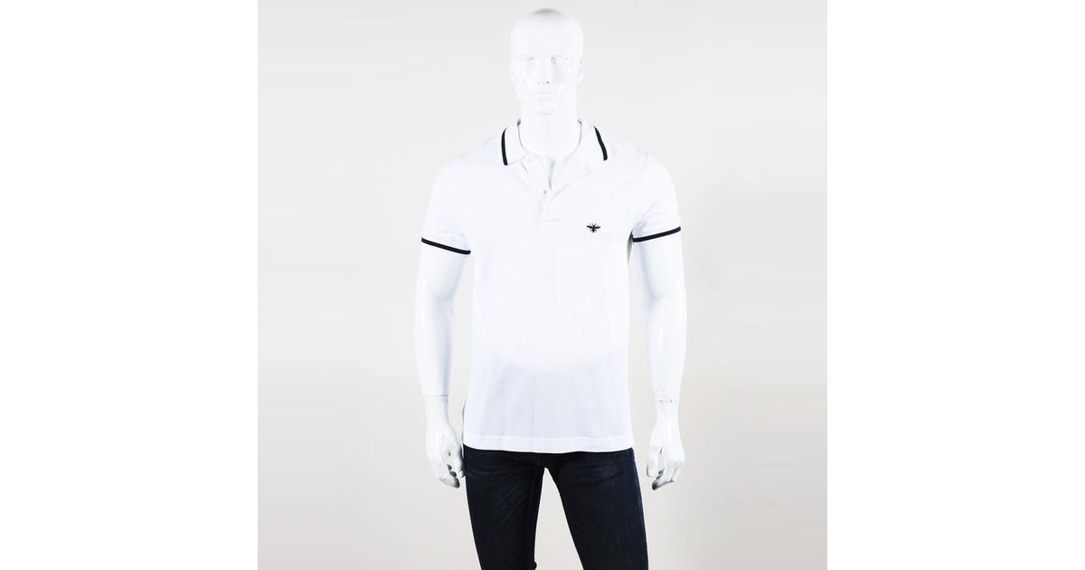 2ddd9114 Lyst - Dior Dior Embroidered Men's Polo Shirt in White for Men