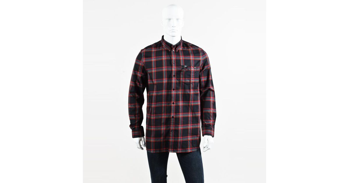 003f382a19bb Lyst - Givenchy Mens Nwt Black Red Multicolor Cotton Leather Pocket Plaid  Shirt Sz 41 in Red for Men