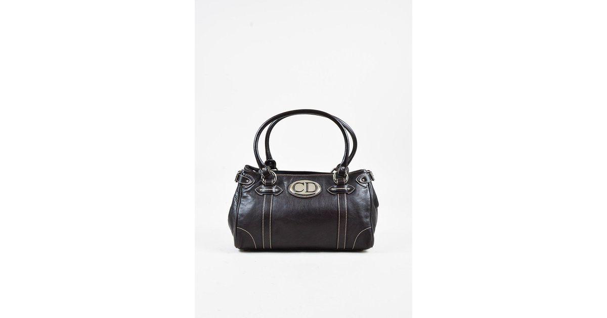Dior Brown Leather Top Handle Mini Bag kkUSlyAgwT