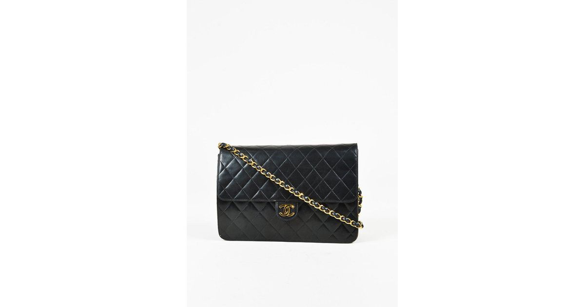 107f3a48b316 Chanel Vintage Black Quilted Lambskin Leather