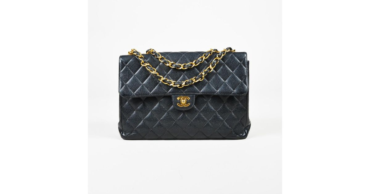 91007b090fad Lyst - Chanel Quilted Caviar Leather