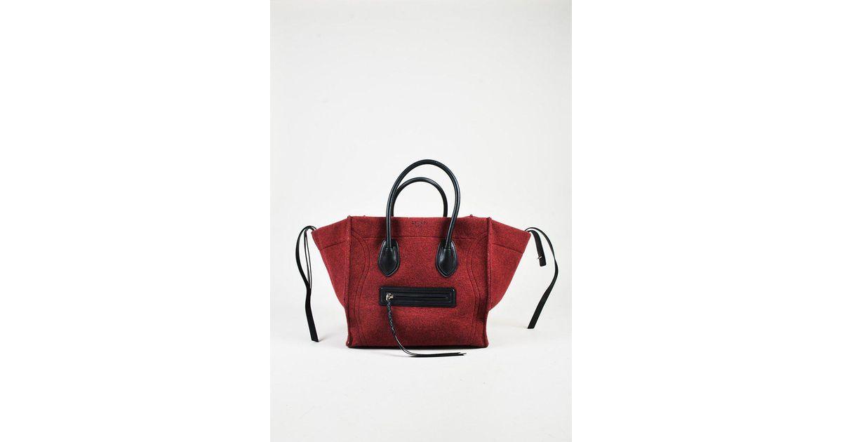 1d8e08e7bf Lyst - Céline Red   Black Wool Felt   Leather Medium