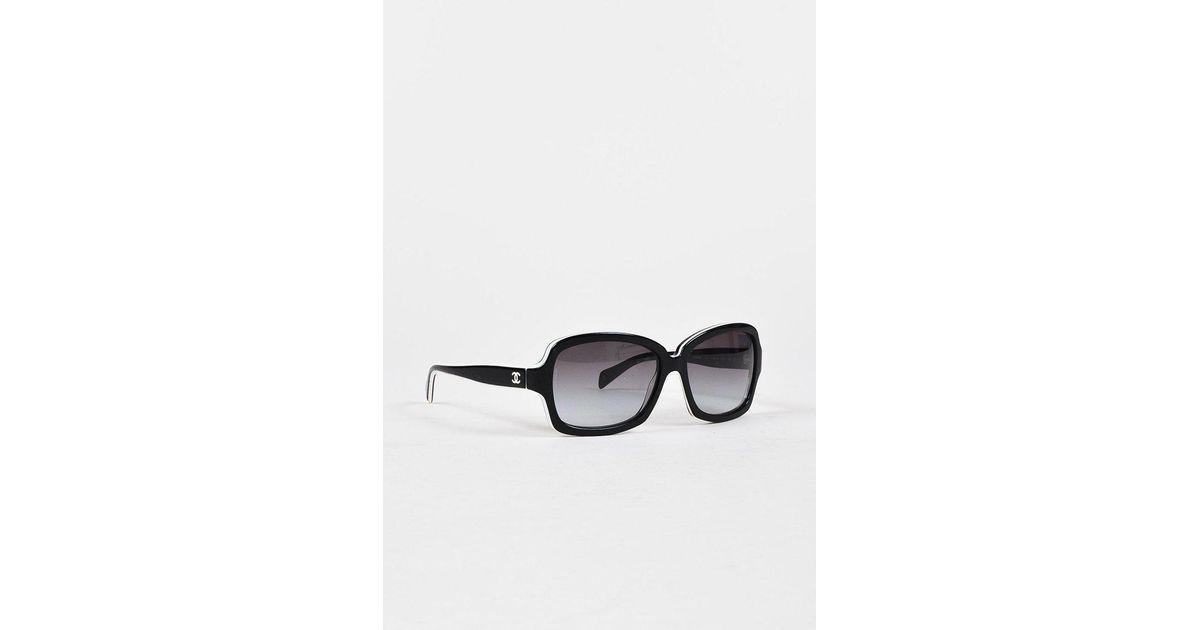 Lyst - Chanel Black White Trim Square Frame 5143 Sunglasses in Black
