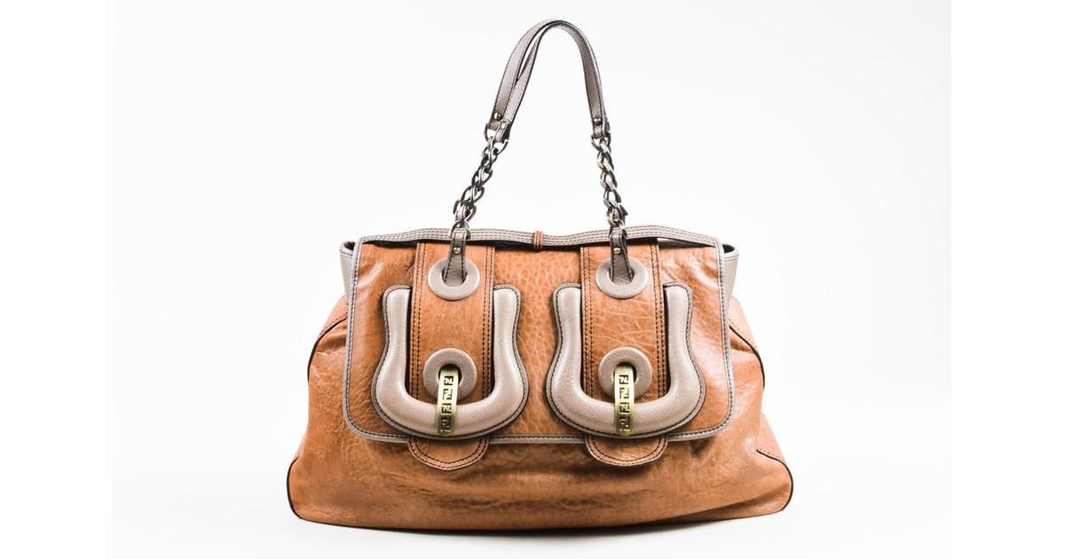1bbd13b0e395 Lyst - Fendi Tan Gray Leather
