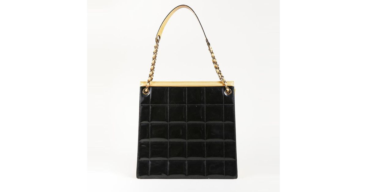 21da578514386f Lyst - Chanel Black Quilted Patent Leather Tote in Black