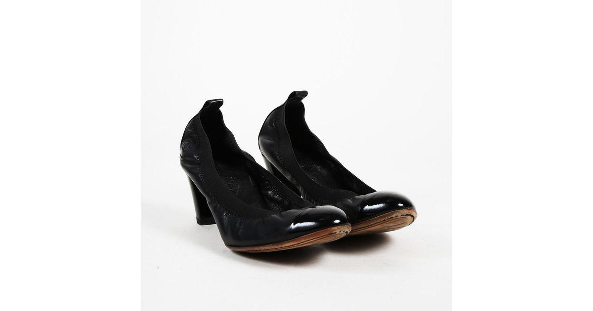 6e1b78f577 Lyst - Chanel Black Lambskin & Patent Leather Frilled