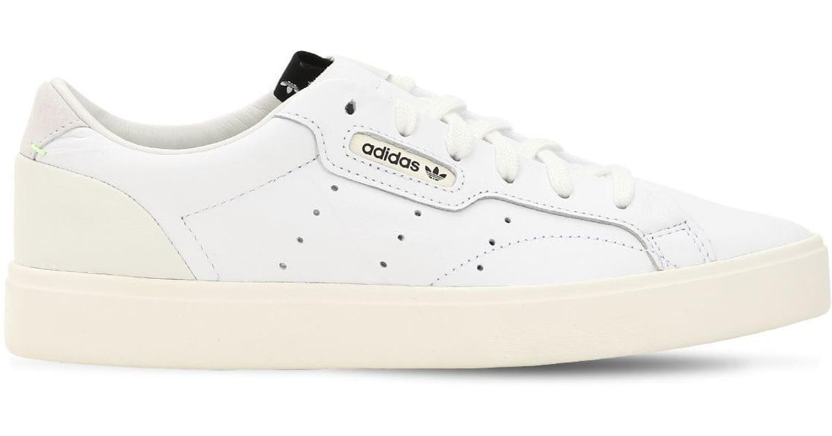 new product 0f404 6602a adidas Originals Sleek Leather Sneakers in White - Lyst