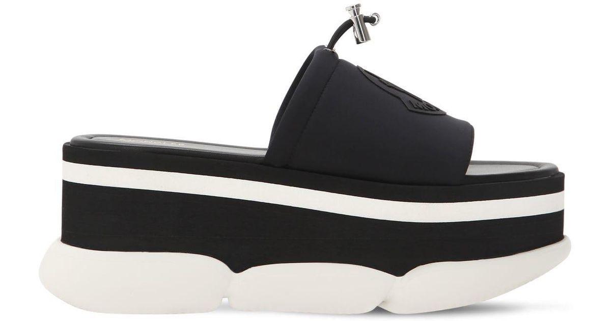 3488ec139f82 Lyst - Moncler Zaira Leather   Rubber Platform Sandals in Black