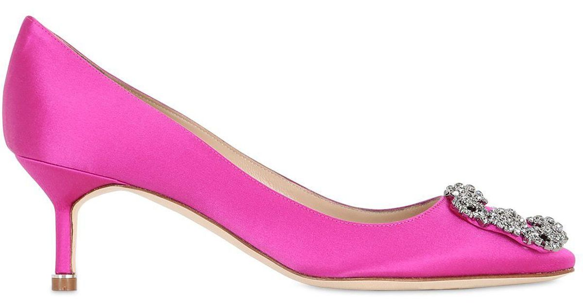 Manolo Blahnik Pink Nadira 90 crystal silk satin pumps