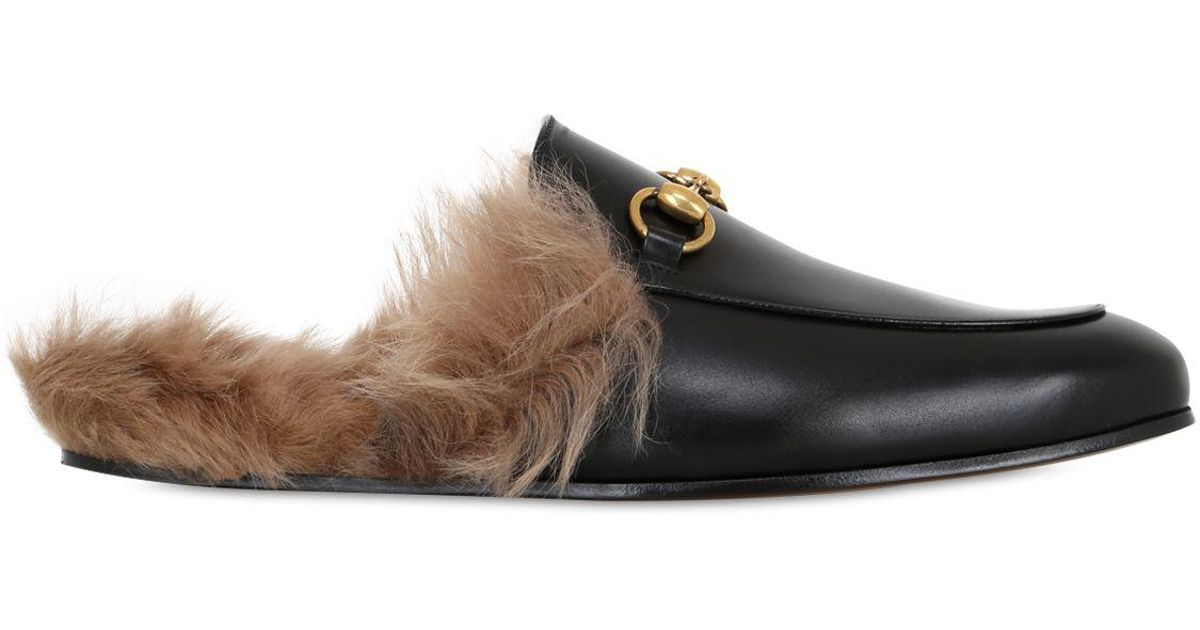 0e117cea270 Lyst - Gucci Princetown Fur Lined Leather Slippers in Black for Men