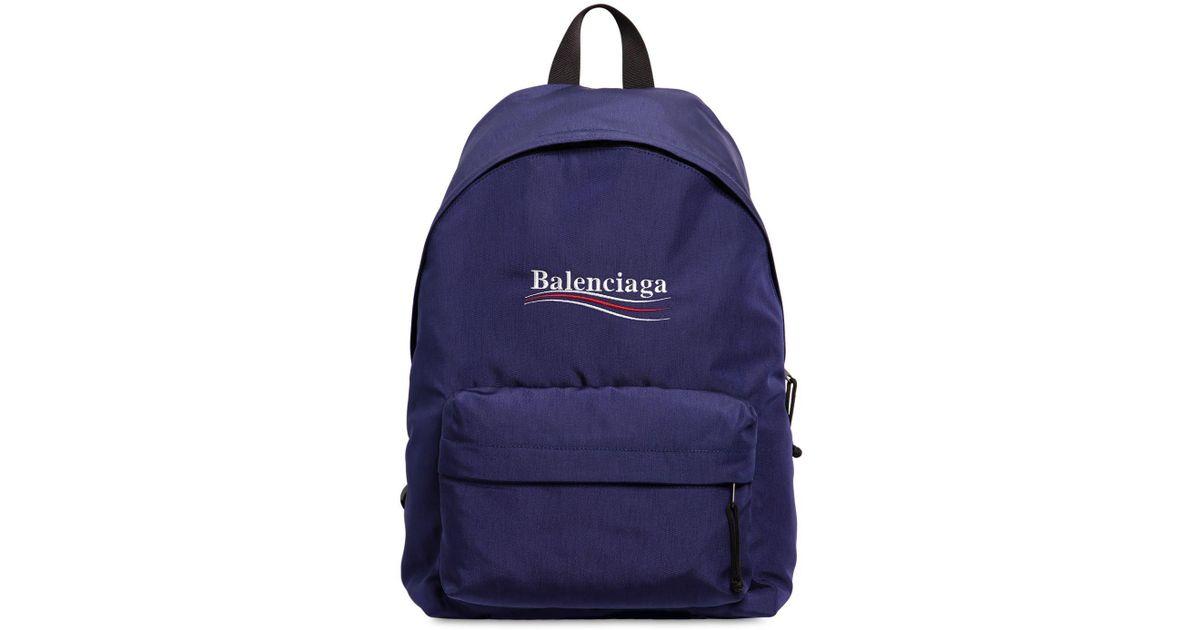 2dff202f0f Lyst - Balenciaga Political Logo Nylon Backpack in Blue for Men