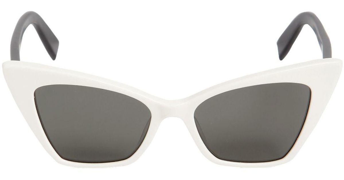 3db62be1198 Saint Laurent New Wave Victor Two Tone Sunglasses in White - Lyst