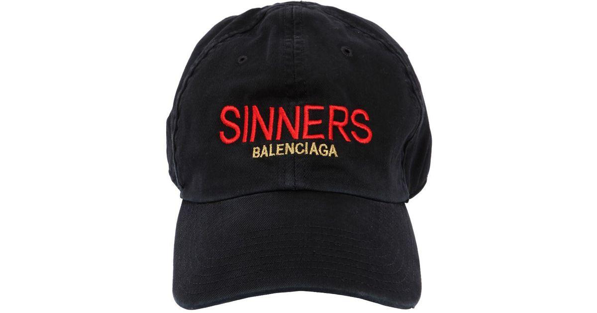 5dd7bd79d8bf8 Lyst - Balenciaga Sinners Embroidered Cotton Gabardine Hat in Black for Men