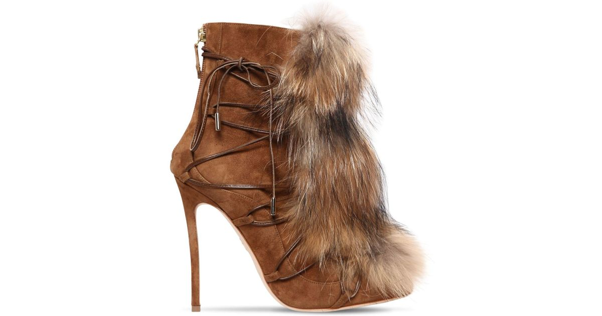 Dsquared2 120MM RIRI SUEDE LACE-UP BOOTS W/ FUR O3Ikh
