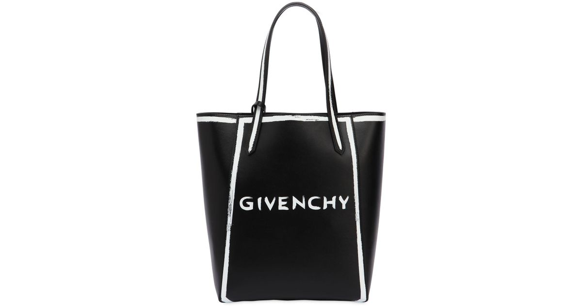 361a37c7709e Givenchy Neo Stargate Printed Logo Leather Tote in Black - Lyst