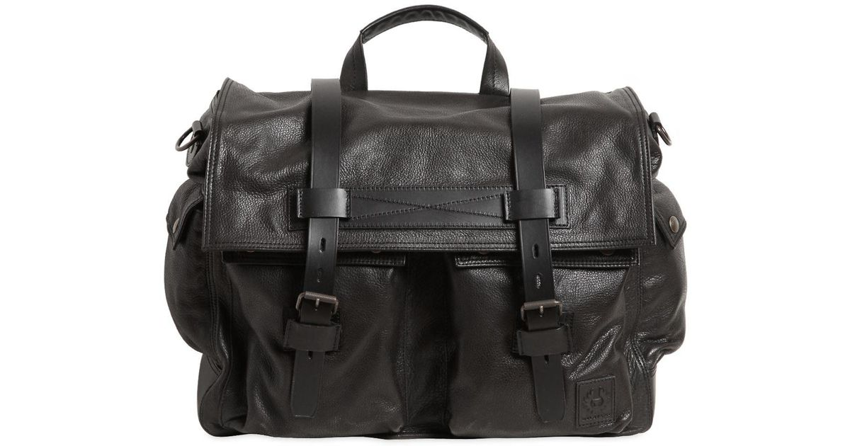 d557ac0b28 Belstaff Colonial Leather Messenger Bag in Black for Men - Lyst