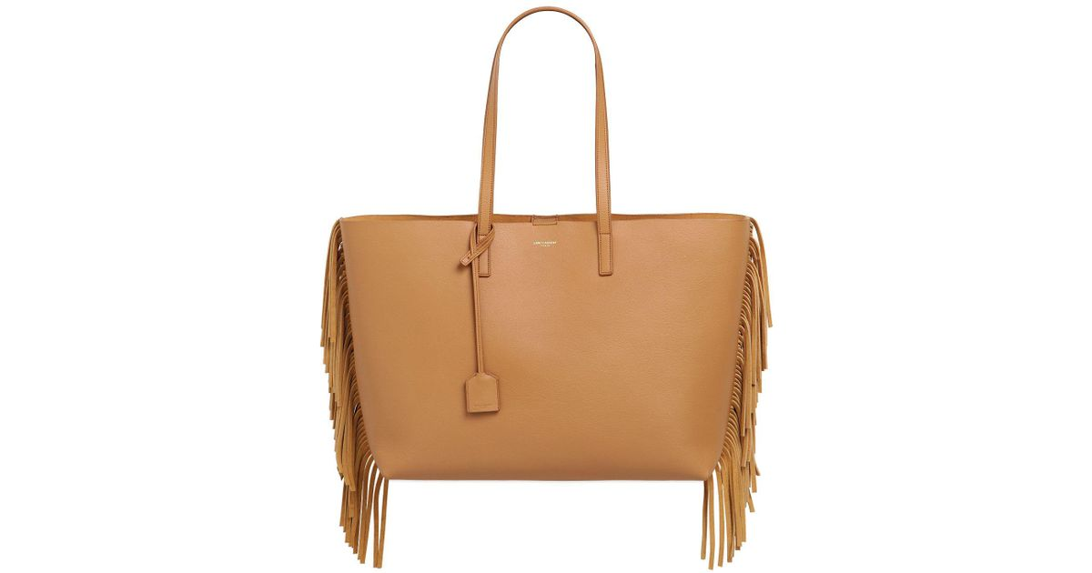 8662cd7e638 Saint Laurent Fringed Leather Tote Bag in Brown - Lyst