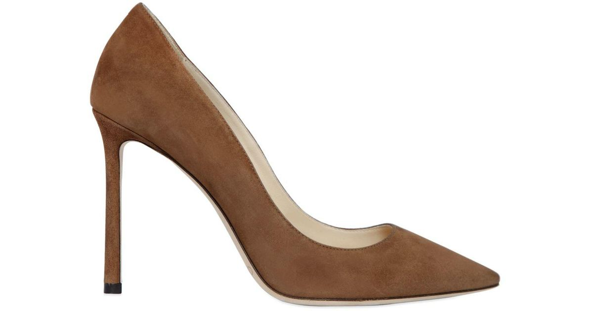 5767aad20 Lyst - Jimmy Choo 100mm Romy Suede Pumps in Brown