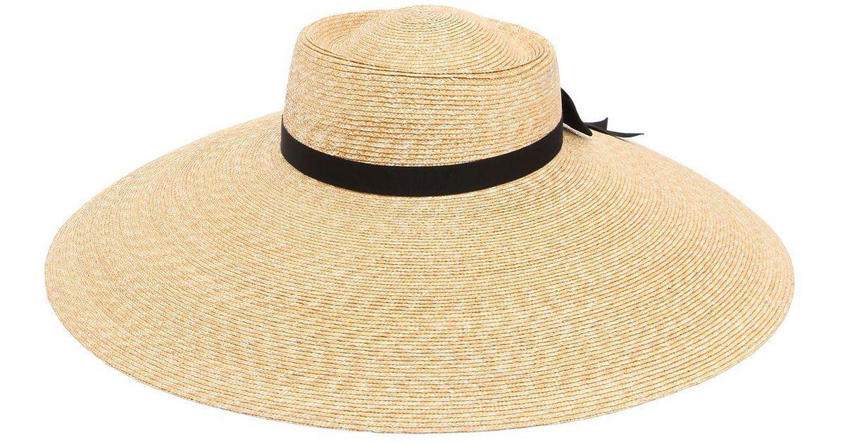 Lyst - Gucci Wide Brim Straw Hat in Natural 6f7f17f4aa88