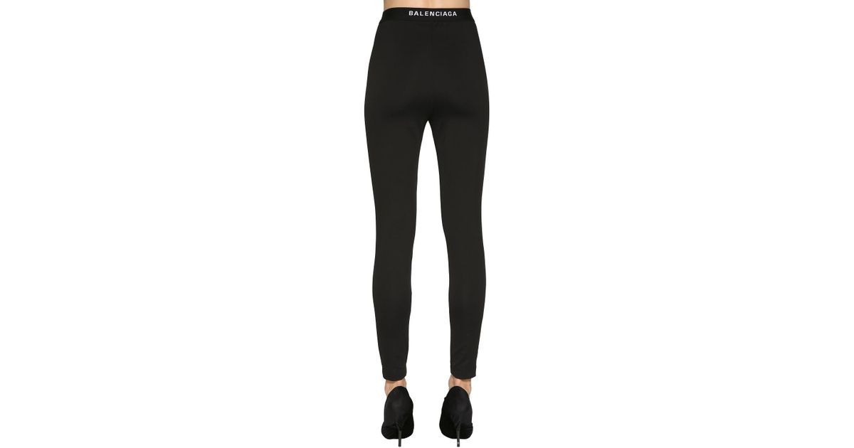 d2e1dacff2ad5 Balenciaga Logo Detail Crepe Jersey Leggings in Black - Lyst