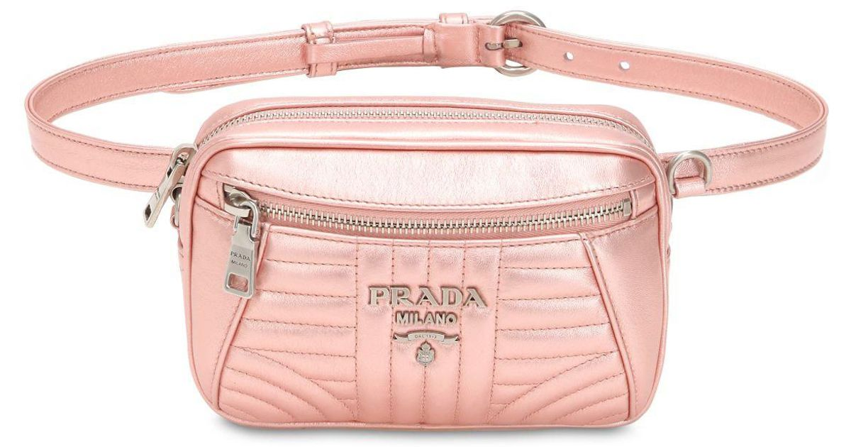 a2c4c155025d Lyst - Prada Quilted Metallic Leather Belt Pack in Pink