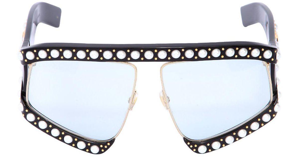 257f1656c6 Lyst - Gucci D-frame Sunglasses W  Imitation Pearls in Black