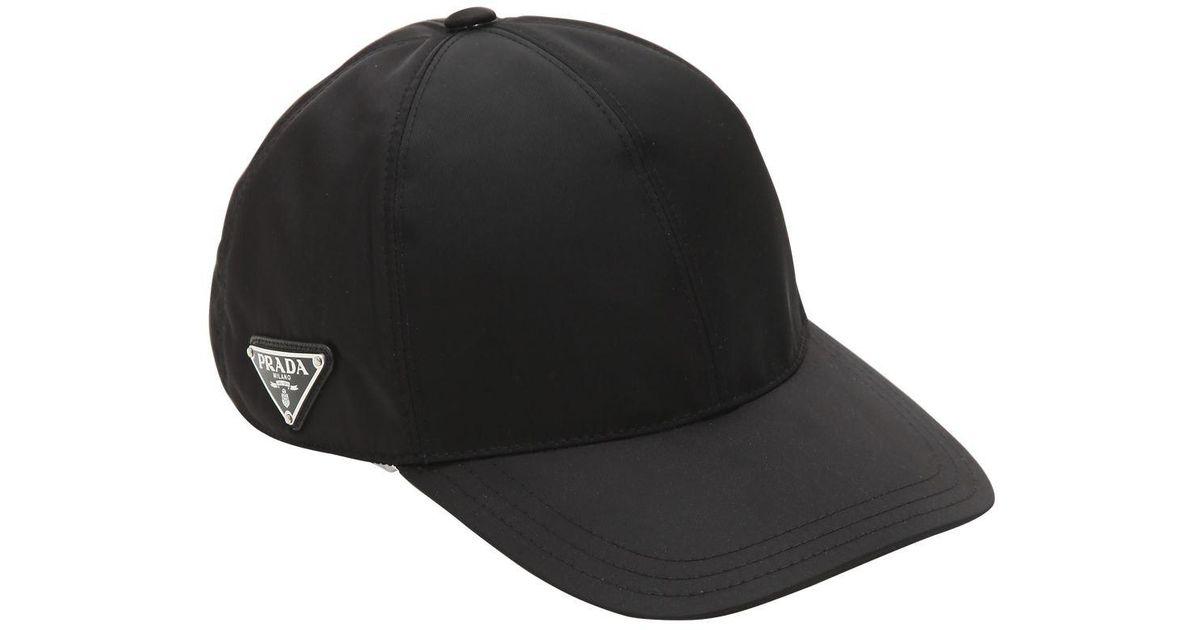 Lyst - Prada Triangle Logo Nylon Baseball Cap in Black bd2d8d41850