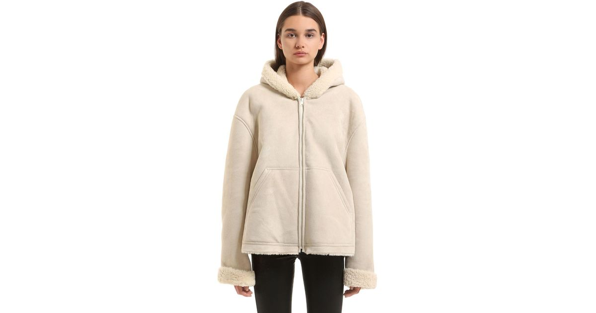Yeezy Hooded Shearling Jacket in Natural - Lyst e63976f66