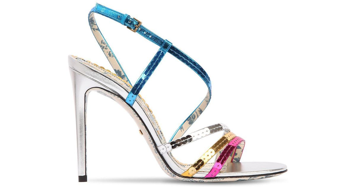022dc7fe438d Lyst - Gucci 105mm Haines Sequined Sandals