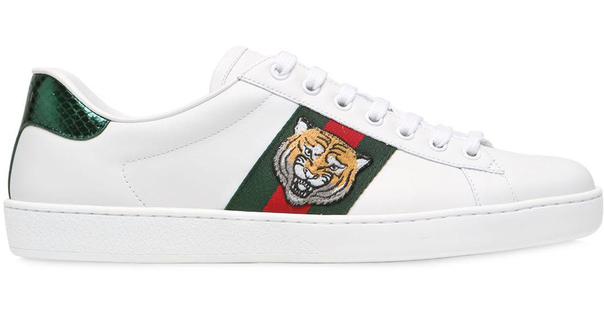 a25e2e78ec8 Lyst - Gucci Tiger New Ace Leather Sneakers W  Ayers in White for Men