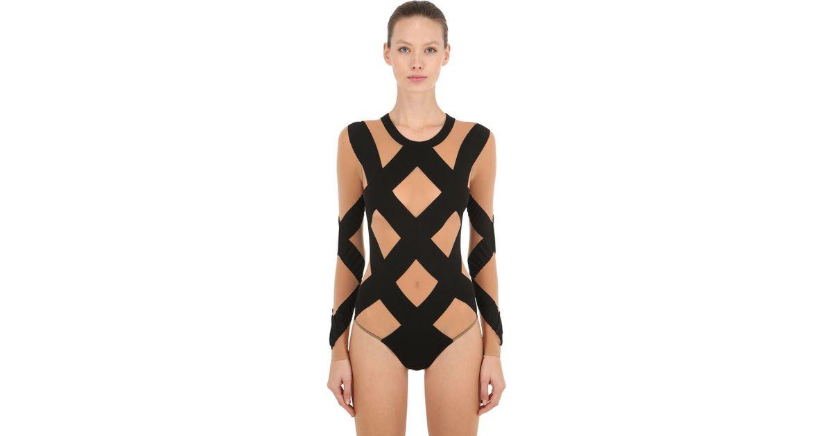1184c8cc46474 Wolford Anita String Bodysuit in Black - Lyst
