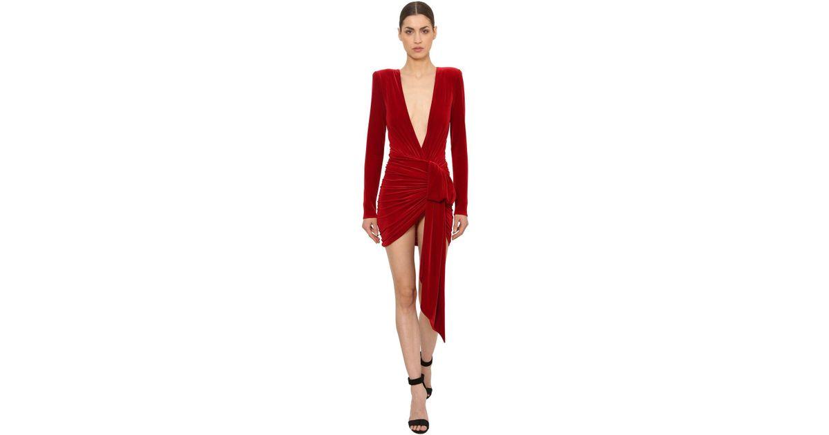 8f88c2ce23 Alexandre Vauthier Draped Velvet Mini Dress in Red - Lyst