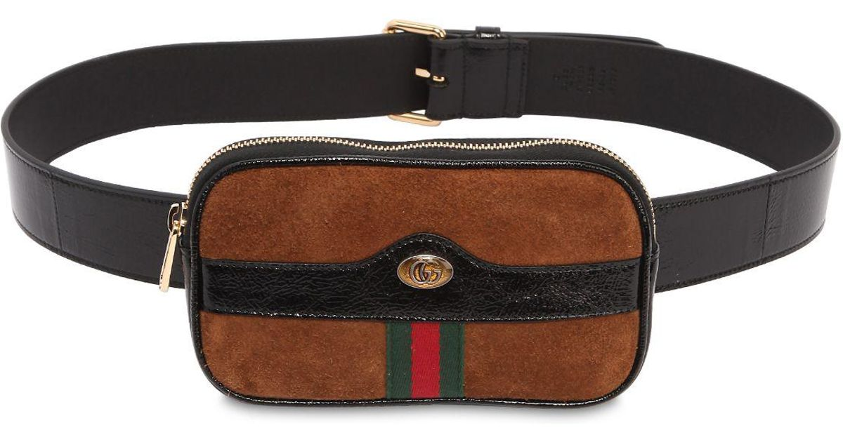 f2aa3633b30 Gucci Mini Ophidia Suede Belt Pack in Brown - Lyst
