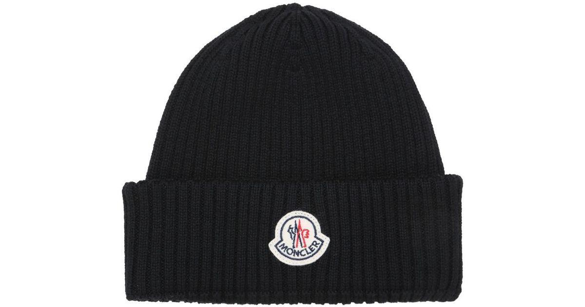 cd43ac6f23b Lyst - Moncler Logo Wool Rib Knit Beanie Hat in Black for Men