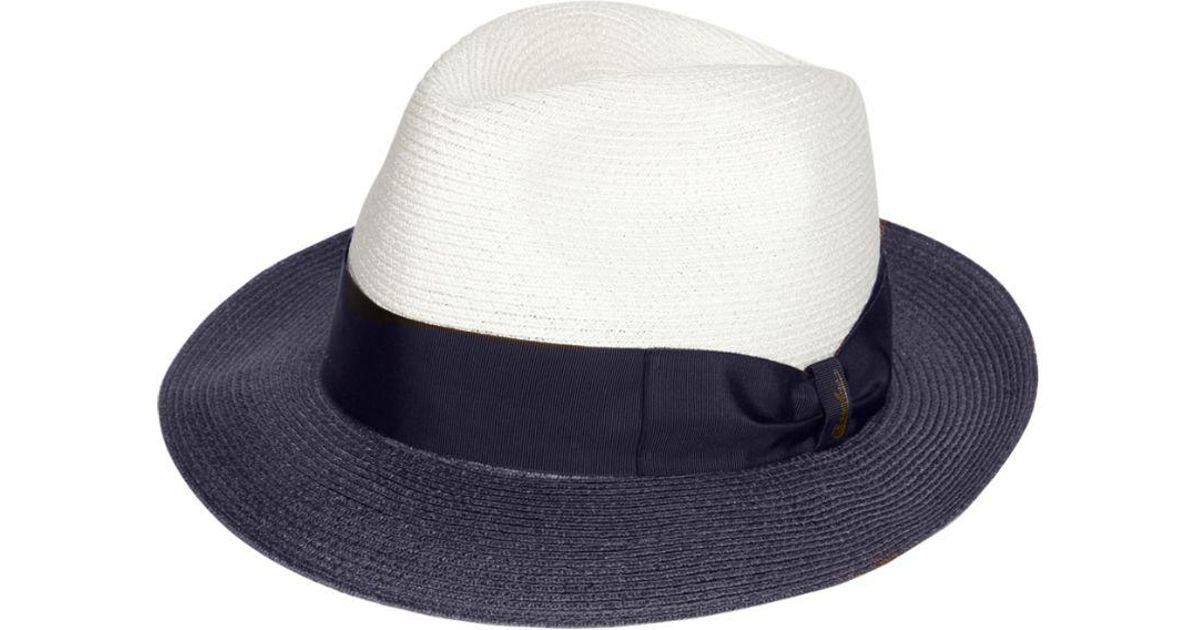 67ac2ce17085a Lyst - Sombrero Panamá Bicolor De Cáñamo Borsalino de hombre de color Azul