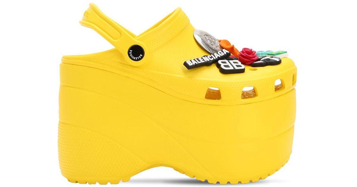 36ed6c4dc6d Lyst - Balenciaga 120mm Foam Embellished Platform Wedges in Yellow
