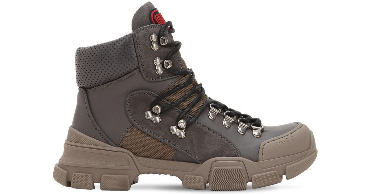 35ab6c49cff Gucci 40mm Flashtrek Leather Hiking Boots in Gray - Lyst