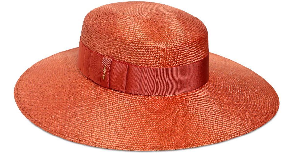 0a4ef93051a4b Borsalino Wide Brim Straw Hat With Grosgrain Band in Orange - Lyst
