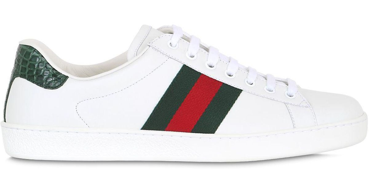 c322e0fb954eb Lyst - Gucci New Ace Web Leather   Camain Sneakers in White for Men