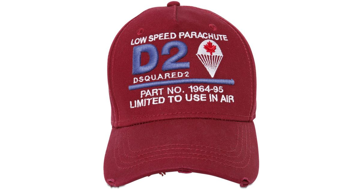 Lyst - DSquared² D2 Parachute Patches Canvas Baseball Hat in Red for Men 0271cb2317ee