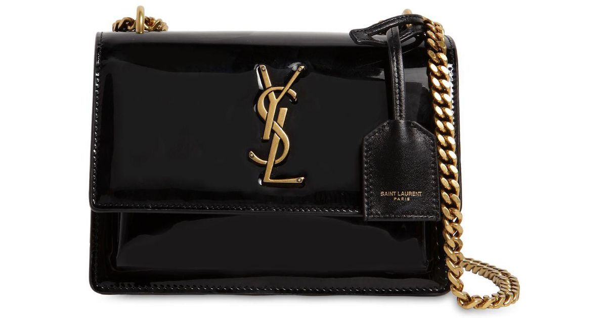 Lyst - Saint Laurent Small Sunset Patent Leather Shoulder Bag in Black decb81e449