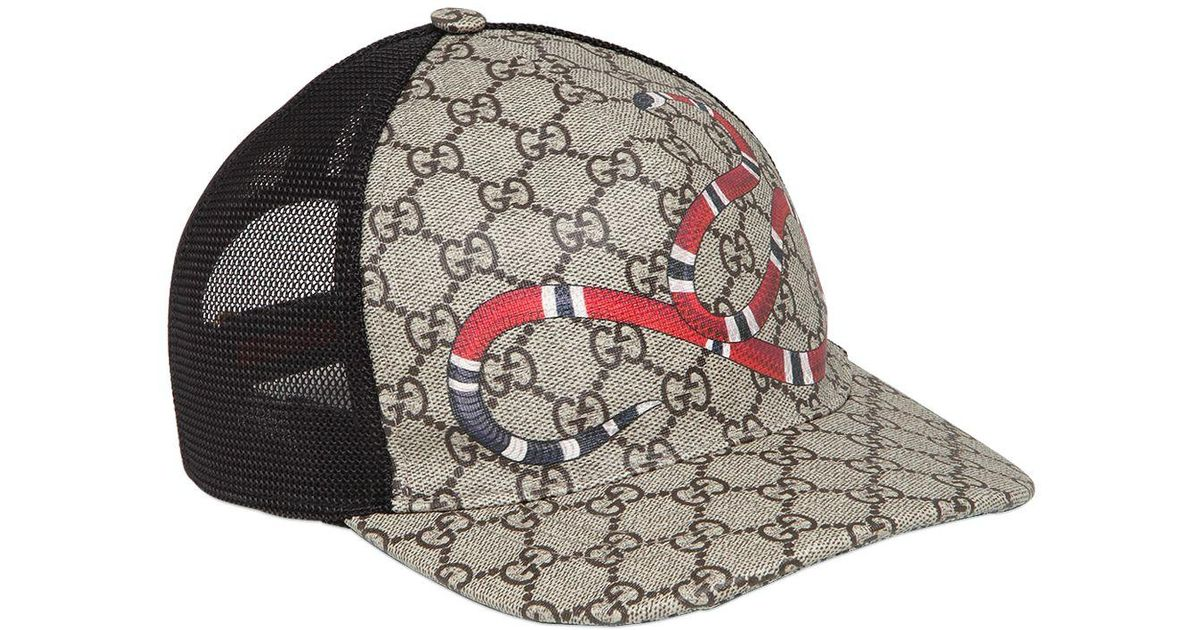 Lyst - Gucci Snake Coated Gg Canvas Baseball Hat in Natural for Men 1962eaa7514
