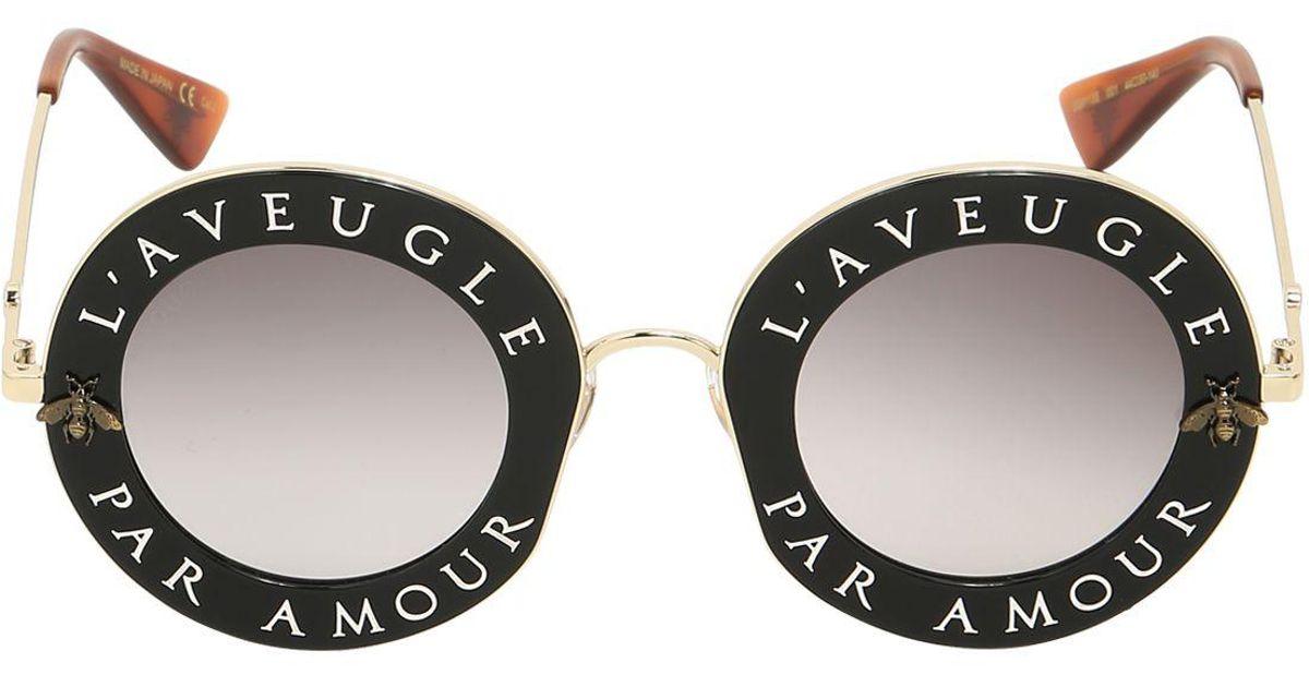 a31b624971e Lyst - Gucci L aveugle Par Amour Round Sunglasses in Black